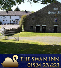 The Swan Inn is a 16th Century Coaching inn, Situated on the A683, between Sedbergh and Kirkby Lonsdale. At Swan Inn, Middleton, we are a Traditional Country Inn with original olde world charm and log fires and nestled not far from the river Lune at the foot of the Middleton Fells. The Swan always has a choice of cask Ales. We also have a large beer garden with childrens' play equipment. Dogs are welcome. Traditional Cumbrian home-cooked food at the Swan is available in the bar area, a separate restaurant or in our beer garden served every day from 12 noon to 8.30pm.