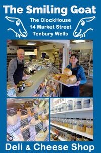 If you're in the area and you've got a moment then why not check out Clive and Kathryn Genders' shop in Tenbury Wells - 'The Smiling Goat' Deli and Cheese Shop. Amazing range of speciality cheeses. It's not only about cheese though (fantastic as it is), The Smiling Goat also has continental and British cold meats, a massive range of spices by the pot, specialty flours and preserves, teas and coffees and a range of local fresh breads...